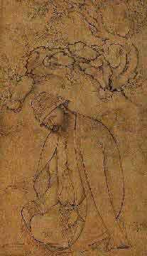 Портрет суфия с четками. Иранская миниатюра, 17 век